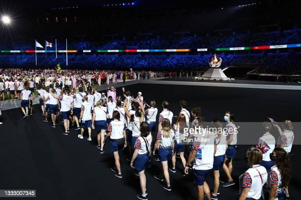 Members of Team Great Britain during the Closing Ceremony of the Tokyo 2020 Olympic Games at Olympic Stadium on August 08, 2021 in Tokyo, Japan.