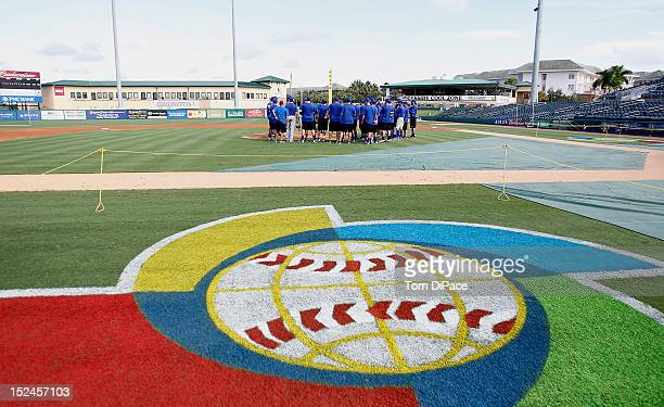 Members of Team Israel have a meeting during the workout for the World Baseball Classic Qualifier at Roger Dean Stadium on September 17, 2012 in...