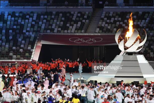 Members of Team Japan enter the stadium during the Closing Ceremony of the Tokyo 2020 Olympic Games at Olympic Stadium on August 08, 2021 in Tokyo,...