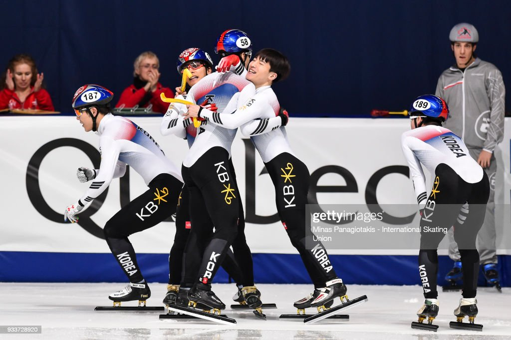 Members of team Korea celebrate after placing first in the men's 5000 meter relay Final during the World Short Track Speed Skating Championships at Maurice Richard Arena on March 18, 2018 in Montreal, Quebec, Canada.