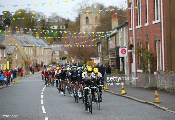 Members of Team Lotto NL-Jumbo lead during the second stage of the 2016 Tour de Yorkshire between Otley and Doncaster on April 30, 2016 in Thorner,...