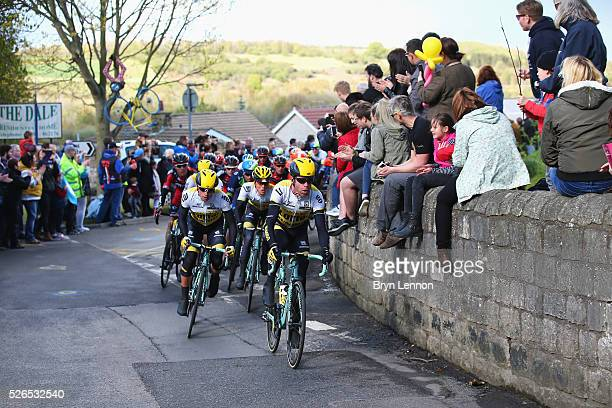 Members of Team Lotto NL-Jumbo lead during the second stage of the 2016 Tour de Yorkshire between Otley and Doncaster on April 30, 2016 in Doncaster,...