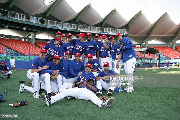 Members of Team of Puerto Rico are pictured before the game against Cuba on March 15 2006 at Hiram Bithorn Stadium in San Juan Puerto Rico Cuba...