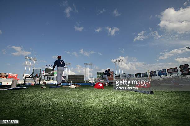 Members of Team Puerto Rico warmup before the game against Cuba on March 15 2006 at Hiram Bithorn Stadium in San Juan Puerto Rico Cuba defeated...