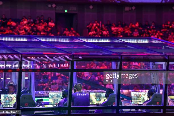 Members of team RNG compete against team Alliance during the International Dota 2 Championships in Shanghai on August 20 2019 A record 335 million...