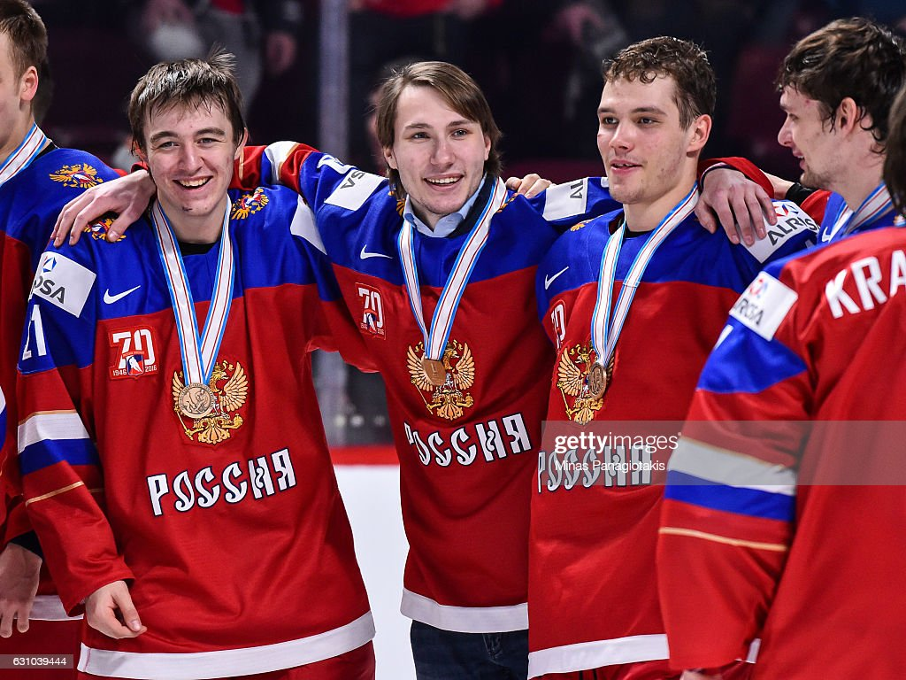 Members of Team Russia celebrate their victory during the 2017 IIHF World Junior Championship bronze medal game against Team Sweden at the Bell Centre on January 5, 2017 in Montreal, Quebec, Canada. Team Russia defeated Team Sweden 2-1 in overtime to win the bronze medal.