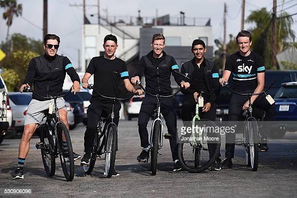 Members of Team Sky Lars Petter Nordhaug, Pete Kennaugh, Danny Van Poppel, Alex Peters and Andy Fenn��met with kids from the Boys & Girls Club of...