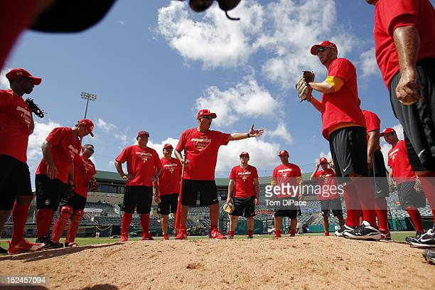 Members of Team Spain are seen during the workout for the World Baseball Classic Qualifier at Roger Dean Stadium on September 18, 2012 in Jupiter,...