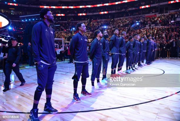 Members of Team Stephen line up on the court for the singing of the Canadian National Anthem prior to the NBA AllStar Game 2018 at Staples Center on...