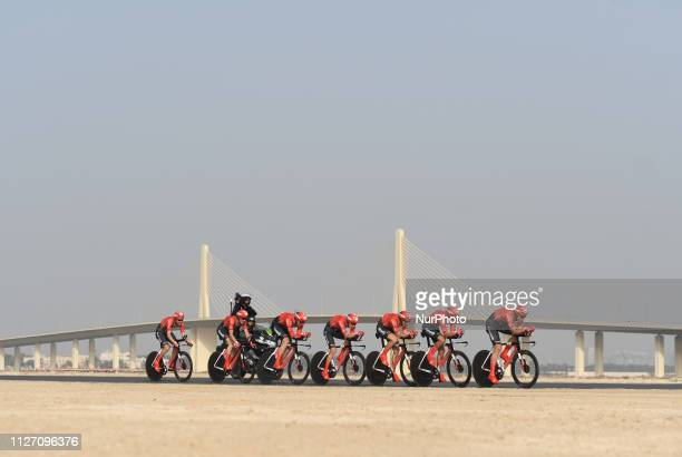 Members of Team Sunweb in action during the Team Time Trial the opening ADNOC stage of the inaugural UAE Tour 2019 On Sunday February 24 Abu Dhabi...