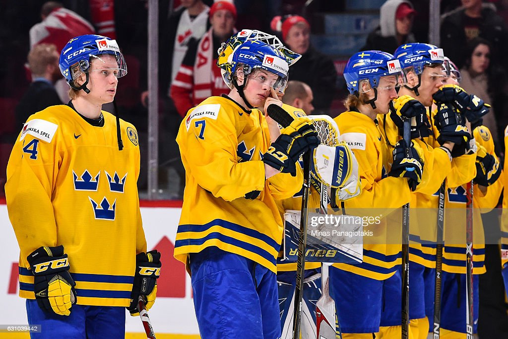 Members of Team Sweden react after losing in the bronze medal round to Team Russia during the 2017 IIHF World Junior Championship game at the Bell Centre on January 5, 2017 in Montreal, Quebec, Canada. Team Russia defeated Team Sweden 2-1 in overtime to win the bronze medal.