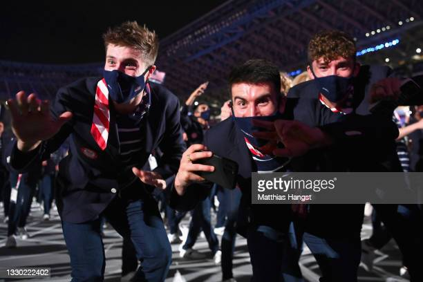 Members of Team United States enjoy the atmosphere during the Opening Ceremony of the Tokyo 2020 Olympic Games at Olympic Stadium on July 23, 2021 in...