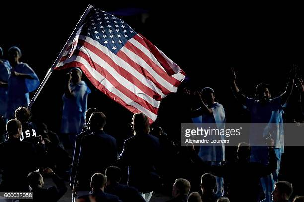 Members of Team United States enter the stadium during the Opening Ceremony of the Rio 2016 Paralympic Games at Maracana Stadium on September 7 2016...