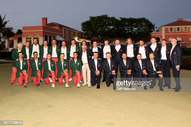 Members of Team USA and Team Great Britain and Ireland pose for photos during closing ceremonies on Day Two of The Walker Cup at Seminole Golf Club...