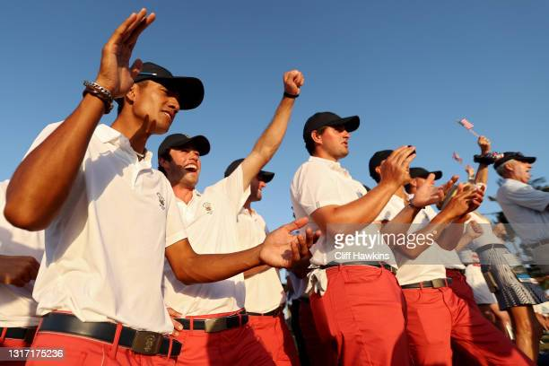 Members of Team USA react during Sunday singles matches on Day Two of The Walker Cup at Seminole Golf Club on May 09, 2021 in Juno Beach, Florida.