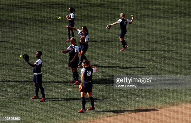 Members of team USA warm up prior to the Women's Softball Group 1 match between Argentina and the USA during the XVI Pan American Games Day Seven on...