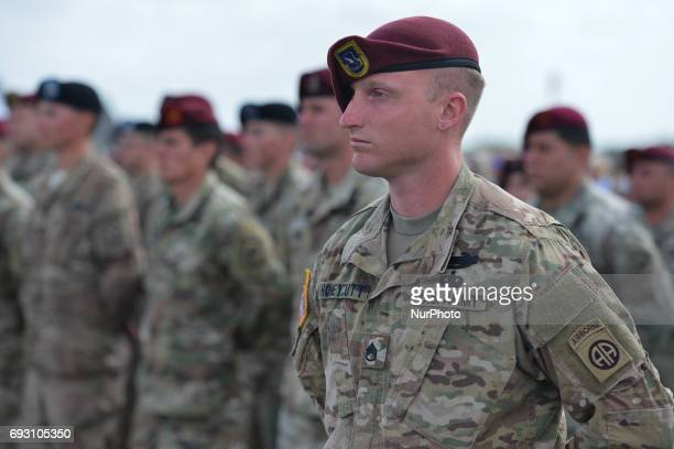 Members of the 101st Airborne Division of the US Army during the International Commemorative Ceremony of the Allied Forces Landing in Normandy in the...