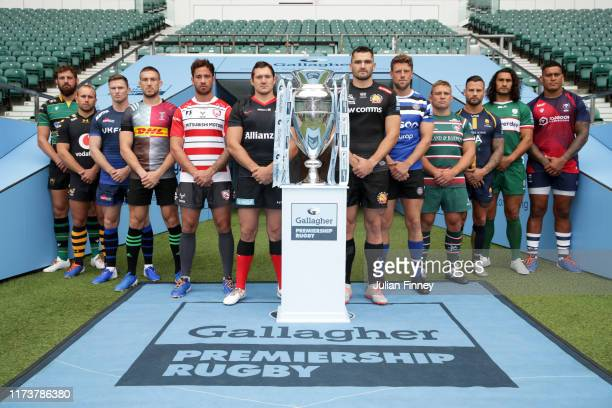 Members of the 12 Gallagher Premiership Rugby Sides pose for a photo from left to right: Tom Wood of Northampton Saints, Dan Robson of Wasps, Chris...