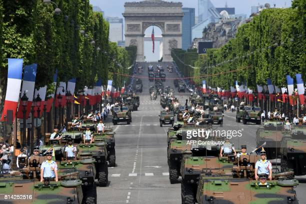 Members of the 16e Bataillons de Chasseurs parade during the annual Bastille Day military parade on the ChampsElysees avenue in Paris on July 14 2017...