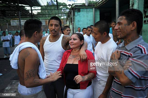 Members of the 18th street gang gather in the yard of the Quezaltepeque jail in the town of Quezaltepeque 25 km west of San Salvador on May 2 2012...