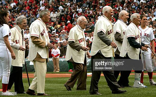 Members of the 1946 Red Sox from left to right Eddie Pellagrini Charlie Wagner Don Gutteridge Bobby Doerr Dave 'Boo' Ferriss and Johnny Pesky as they...
