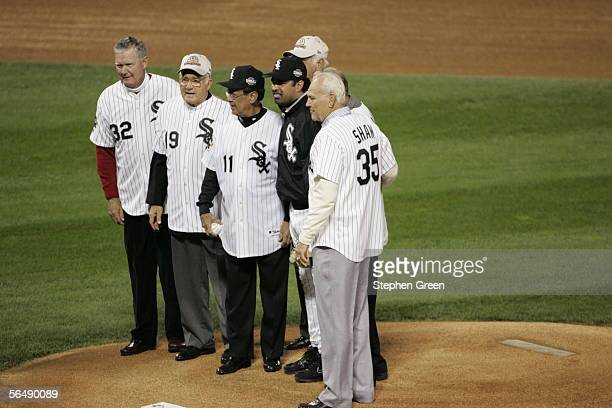Members of the 1959 Chicago White Sox are pictured with current White Sox manager Ozzie Guillen before Game One of the Major League Baseball World...