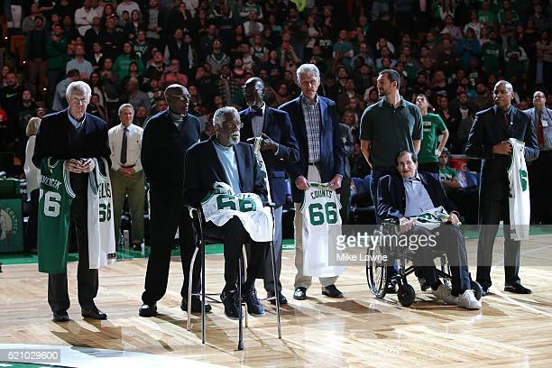 Members of the 1966 Boston Celtics Championship team are honored on the court at halftime of the game between the Boston Celtics and the Miami Heat...