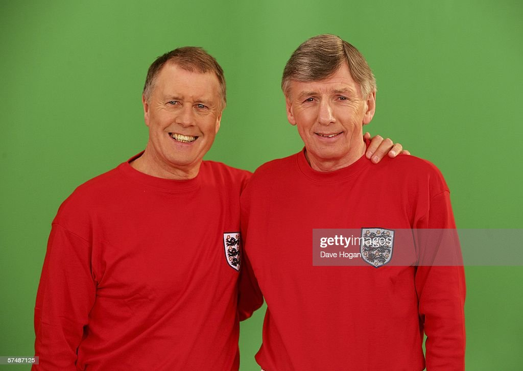 Members of the 1966 England World Cup team Sir Geoff Hurst (L) and Martin Peters are filmed for the video to accompany an England World Cup song 'Who Do You Think You Are Kidding, Jurgen Klinsmann' at Camden Studios on April 28, 2006 in London, England. British sporting celebrities Sir Geoff Hurst, Frank Bruno and Martin Peters and actor Bill Pertwee join the Tonedef All-Stars at the shoot. The single is due for release on May 29, 2006.