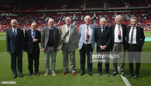 Members of the 1968 European Cup winning squad pose ahead of the Premier League match between Manchester United and Watford at Old Trafford on May 13...