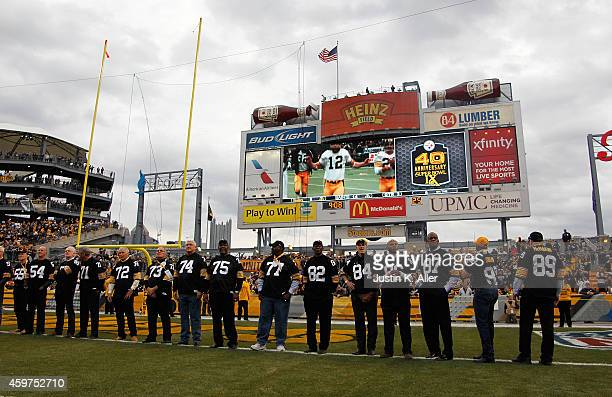 Members of the 1974 Super Bowl team are honored during a halftime ceremony during the game between the New Orleans Saints and the Pittsburgh Steelers...