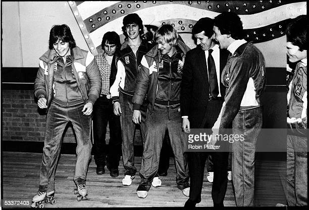 Members of the 1980 Gold medal winning US Olympic hockey team at the Roxy Roller Disco in NYC Mark Wells Mark Pavelich Steve Christoff Bob Suter head...