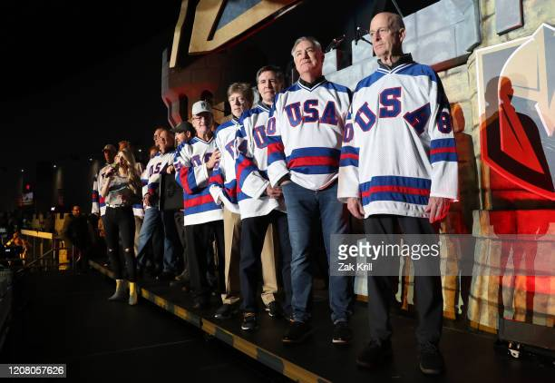 Members of the 1980 Team USA 'Miracle on Ice' team are honored prior to a game between the Vegas Golden Knights and the Florida Panthers at TMobile...