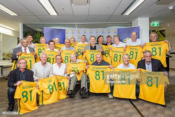 Members of the 1981 young Socceroos gather for a group picture during the 2016 Football Federation Australia Hall of Fame Induction Ceremony at the...
