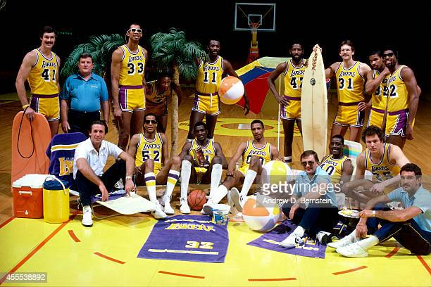 Members of the 1984 Los Angeles Lakers NBA Championship team pose for a portrait in 1984 at the Great Western Forum in Los Angeles California NOTE TO...