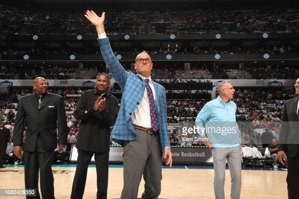 Members of the 1988 Charlotte Hornets team are honored during a game against the Milwaukee Bucks on October 17 2018 at Spectrum Center in Charlotte...