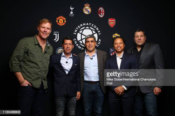 Members of the 1994 US World Cup team Alexi Lalas Tab Ramos Claudio Reyna Cobi Jones and Tony Meola attend day three of the International Champions...