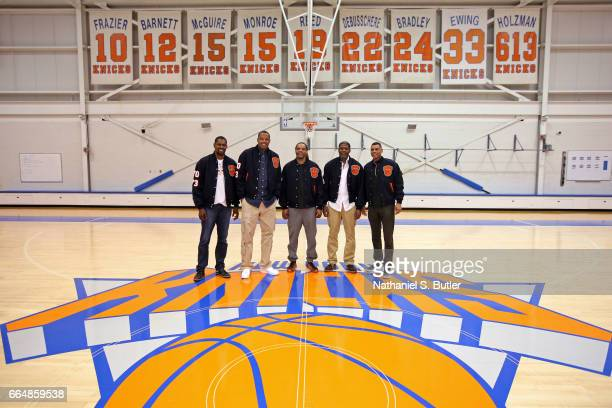 Members of the 1999 New York Knicks team reunite and pose for a photo on April 2 2017 at Madison Square Garden Training Center in Greenburgh New York...