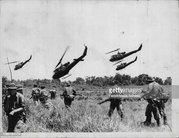 Members of the 1st Battalion a search and destroy operation.A helicopter supported a raid in the Vietnam jungle. July 09, 1965. .