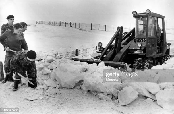 Members of the 1st Battalion Royal Regiment of Wales clearing snow at OgmorebySea 14th January 1982