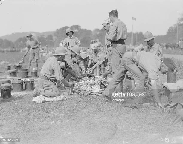 Members of the 1st Manchester Regiment seen here in their field kitchen at the the race course in Marseilles preparing lunch The Manchesters are part...