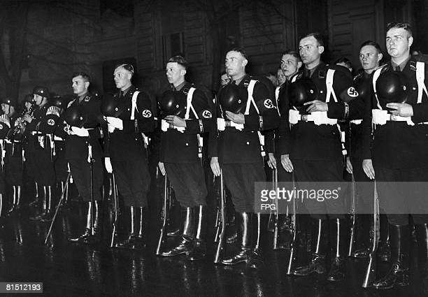 Members of the 1st SS Division Leibstandarte SS Adolf Hitler the personal bodyguard regiment of Nazi leader Adolf Hitler on parade outside the Hotel...