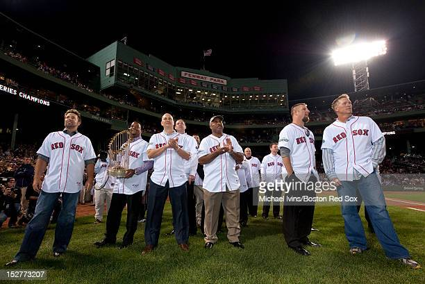 Members of the 2004 Red Sox Championship team Kevin Millar Pedro Martinez Joe Nelson Dave McCarty hitting coach Ron Jackson Alen Embree and Mike...