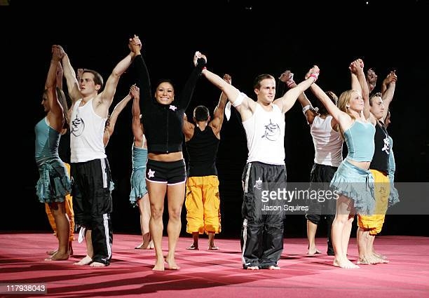 Members of the 2004 Rock and Roll Gymnastics team including Paul Hamm, Morgan Hamm, Courtney McCool, Shannon Miller, Dominique Moceanu, Hollie Vise...