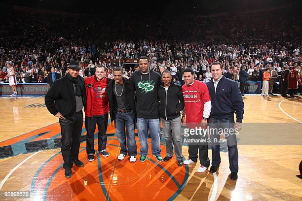 Members of the 2009 World Series Champion New York Yankees Third baseman Alex Rodriguez pitcher Joba Chamberlin second baseman Robinson Cano pitcher...