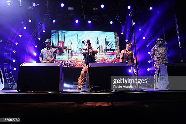Members of the 2012 lineup of disco group Village People David Hodo Felipe Rose Eric Anzalone and Alexander Briley perform during day 4 of the Super...
