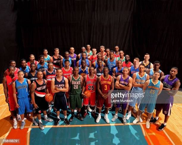 Members of the 2012 rookies poses for a group portrait during the 2012 NBA rookie photo shoot on August 21 2012 at the MSG Training Facility in...