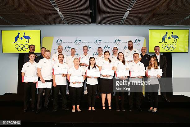 Members of the 2016 Rio Olympic Games Australian Shooting Team pose during the Australian Olympic Games Shooting Team Selection Announcement at the...