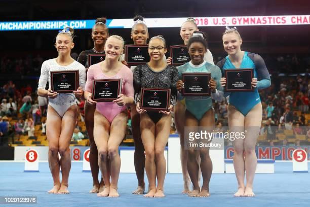 Members of the 201819 Women's National Team Trinity Thomas Riley McCusker Grace McCallum Shilese Jones Morgan Hurd Kara Eaker Jade Carey and Simone...