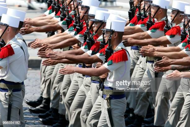 Members of the 2e Regiment Etranger d'Infanterie de la Legion Etrangere take part in the annual Bastille Day military parade on the ChampsElysees...