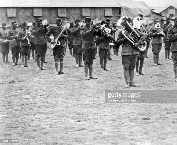 Members of the 369th Infantry Regiment band under the direction of Lt James Reese France circa 1918 The 369th was also known as the 'Harlem...